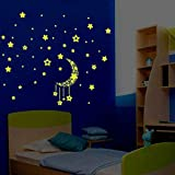 ZHANGQTTZWall Sticker A Set Niños Dormitorio Fluorescente Glow In The Dark Stars Pegatinas de Pared-Café Color-A