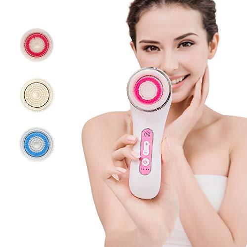 Cepillo facial MiSMON - IPX7 Cepillo de limpieza facial resistente al agua, para limpieza profunda, limpieza suave y eliminación de puntos negros con 3 cabezales.Soporte de carga inalámbrica