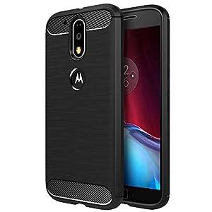 Simpeak Funda Compatible con Motorola Moto G4 / G4 Plus 5.5 Negro TPU Carcasa Funda Suave Flexible Piel Resistente a los Aranazos Compatible con Moto G4 / G4 Plus