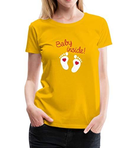 Schwangerschaft Baby Inside Frauen Premium T-Shirt, M (38), Sonnengelb