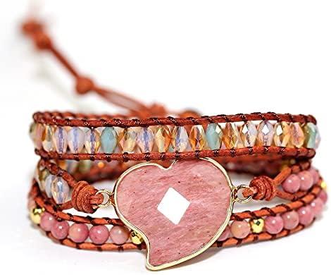 Red Stripe Stone Love Hand Bracelet Sales Multi-Layer Trust Bo Woven Leather
