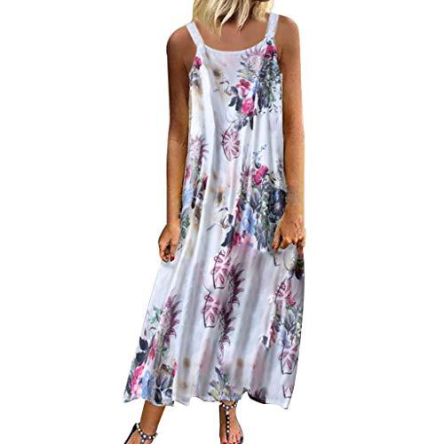 LOPILY Sommerkleid Damen Große Größen Ärmellos V-Ausschnitt Maxikleid Blumen Hippie Druckkleid Freizeit Kleid Plissee Kleid Retro Kleid für Reise Übergrößen bis 5XL (Rosa, DE-48/CN-5XL)