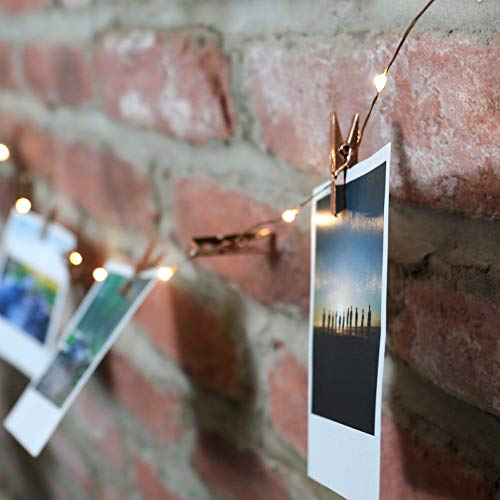 Photo Clip String Lights - Battery Operated - 2m Silver Wire 20 LED Firefly Peg Lighting (Copper Peg)