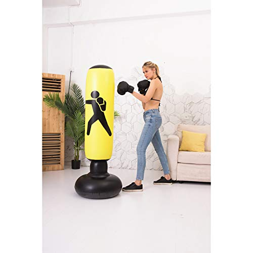 BOOMGROO Inflatable Punching Bag with Stand - Boxing Bag Toy Boxing Stand Heavy Bag Stand Strength Enhancer Boxing Toy for Kids and Adults Boom Boom Boxing (Yellow)