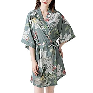 ZYM Ladies Soft Bathrobe, Lightweight Ice Silk Plant Flower Print Luxury Dressing Gowns with Belt V-Neck Spring Summer Women Robes for Home Party Gift,L