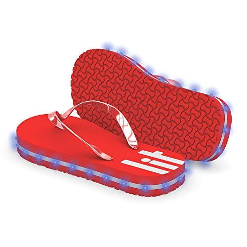 Litflip Flip-Flop-Sandalen für Herren, wasserdicht und sanddicht, mehrfarbige leuchtende LED-Lichter, Doppel-USB-Ladekabel, trendiges Design und langlebige Qualität, Herren, rot, 11