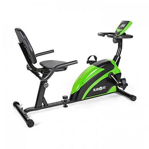 Klarfit Relaxbike 5G • ergometro • cyclette sdraio • ergometro cardio • Hometraining • resistenza regolabile 8 stadi • regolatore da polso • Disply LCD grosso • resistenza max. 100 kg • nero-verde