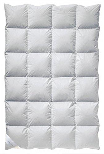 Billerbeck Daunendecke Clivia 90 Wärmestufe warm Bettdecke 135 x 200 cm Baumwolle, weiß, Allergiker geeignet