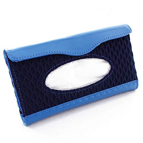 Zonneklep weefsel doos Mesh met lederen auto zonneklep opknoping papier handdoek clip unisex auto weefsel boxCar Tissue BoxCar Zon Visor Tissue Clip Box Blauw