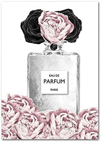 Flor rosa Perfume Póster Impresión Vogue Maquillaje Lienzo Arte Pintura Moda Arte de la pared Imagen Moderna Habitación de niña Sala de estar Decoración de la pared 40x60cm Sin marco
