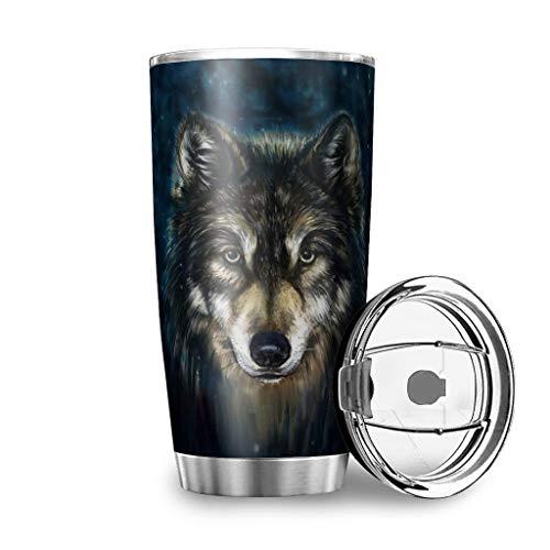 Yrgdskuvle Wolf - Taza térmica de doble pared de acero inoxidable al vacío, reutilizable para coche, personalizable, con tapa, para café, té y cerveza, 600 ml, color blanco