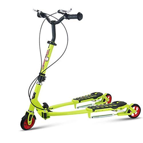 ZCPDP Flicker Roller, DREI Rad-Tretroller mit Schutz-Dual-Bremspedalen Faltbare und Adjustable-Brett für Kinder,Grün