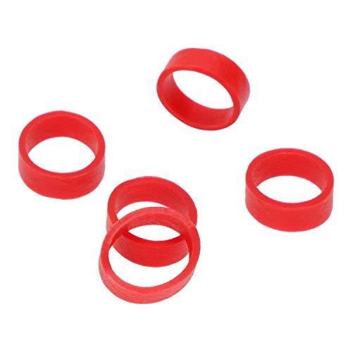 ONLYKXY 250 Pieces Red Silicone Cable Ties Data Lines Silicone Cord Ties Reusable Rubber Rings Power Cable Tie Straps Elasticity Coil Ring Rubber Bands