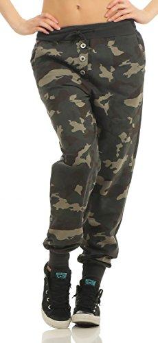 Damen Freizeithose Sporthose Sweat Pants Camouflage lang (633), Grösse:M / 38, Farbe:Armee