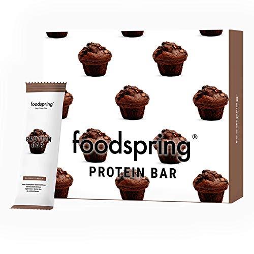 foodspring Barrette proteiche, Chocolate Muffin, 12 x 60g, 33% di proteine, A ridotto contenuto di zuccheri, Perfette dopo l'allenamento o come snack da viaggio