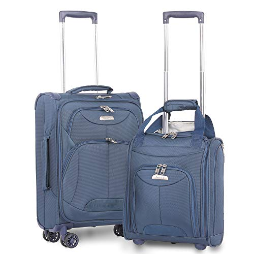 "Aerolite 21"" Inch Carry On Lightweight 4 Wheel Spinner Suitcase & 16"" Under Seat Bag Set (Navy)"