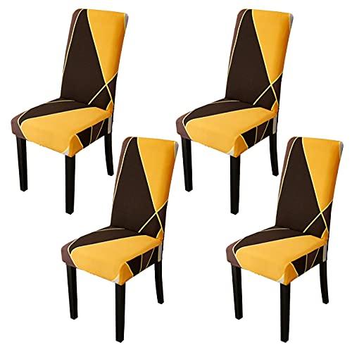 LERT Fundas para sillas elásticas de 4 piezas fundas para sillas de comedor elásticas universales para hotel / banquete