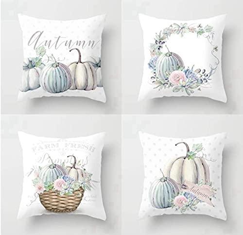 Juego de 4 fundas de almohada de 45 x 45 cm, cojín decorativo otoñal, acuarela, azul, calabaza, granja de Acción de Gracias, otoño, cosecha, poliéster, fundas de almohada cuadradas para sofá cama