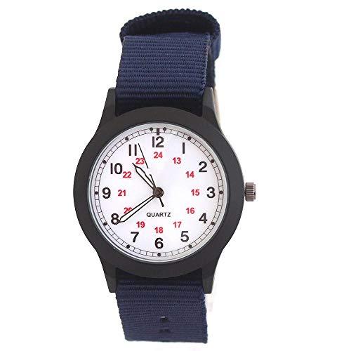 SFBBBO kinderuhr Männer Kinder Jungen Mode Coole Quarzuhren Studenten Leinwand elektronische Armbanduhr blauweiß
