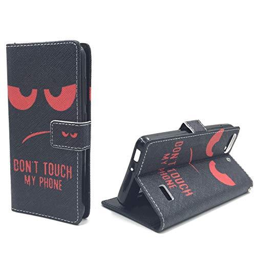 König Design Handyhülle Kompatibel mit Huawei G Play Mini/Honor 4C Handytasche Schutzhülle Tasche Flip Hülle mit Kreditkartenfächern - Don't Touch My Phone Rot Schwarz