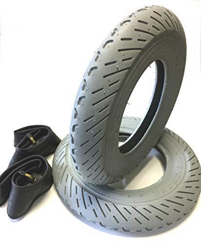 Rollstuhlreifen 2 Stück 3.00-8, grau + 2 Stück Schlauch Winkelventil, Scooter Racing Profil Leichtlauf, 4 PR Stabiler Reifenaufbau, Rollstuhl Reifen für Elektromobil, Scooter, E-Rollstuhl