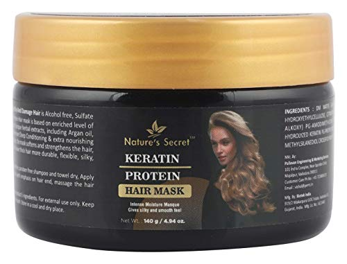 Nature's Secret Keratin Protein Hair Mask for Hair, No Parabens and No Mineral Oil Keratin Protein, White, 140 g