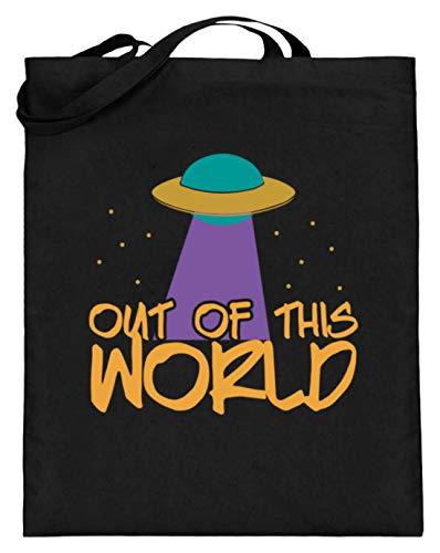 SPIRITSHIRTSHOP Out Of This World - Nicht Von Dieser Welt - Außerirdisch, Erde, Ufo, Alien, Aliens, Planet - Jutebeutel (mit langen Henkeln) -38cm-42cm-Schwarz