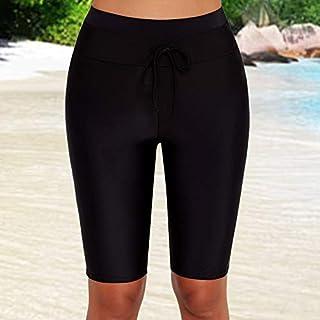 ملابس السباحة القصيرة القصيرة القصيرة ذات الخصر العالي من متجر إكستوم للصيف للنساء بلون موحد