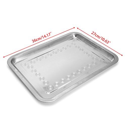 xiuJUNhoho Edelstahl rechteckige Platte Grill gegrillt Fisch Tray BBQ Food Container