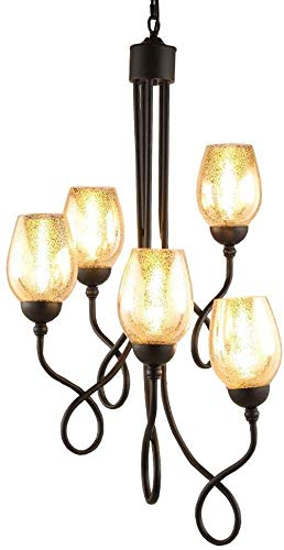 Beautiful home lighting / 5 hanglampen van glas/metaal/hanglamp Lights E14 van smeedijzer, ladder duplex Villa voor het ophangen van traplichten