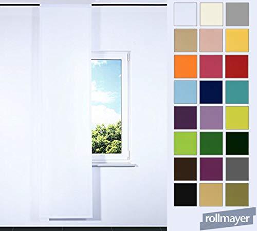 Rollmayer NACH MAß! SCHIEBEVORHANG FLACHENVORHANG SCHIEBEPANEL SCHIEBEGARDINE Vorhang (Weiß 1, Klettband, Länge: 251-300cm)