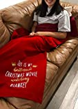 This is My Christmas Movie Watching Blanket Red Soft Flannel Fleece Throw Blanket for Movie Lovers Decorative Blankets Holiday