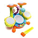 RVDVS Seller Dynamic Fun Beat Jazz Musical Electronic Drum Set with Mic/Drumstick and Flashing Lights for Kid