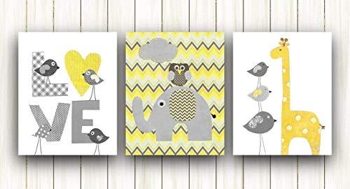 Elephant Yellow & Gray Chevron Baby Nursery Wall Art, 3 prints UNFRAMED