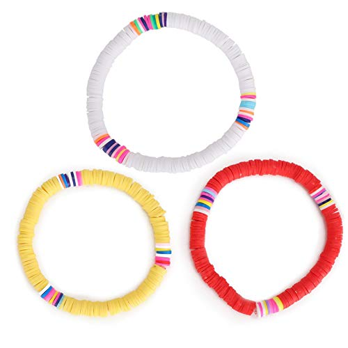 Pulsera de moda, 3 piezas/set pulsera colorida playa de verano encantadora pulsera elástica pulseras de joyería para amante de la miel 6 cm (blanco + rojo + amarillo)