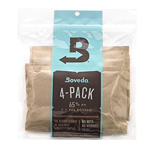 Boveda for Cigars/Tobacco | 65% RH Humidity Control Packs | Size Large for Use with Up to 25-100 Cigars | Patented Technology for Cigar Humidors| 4-Count Resealable Bag