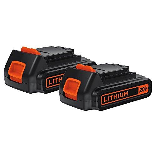 BLACK+DECKER 20V MAX Lithium Battery 1.5 Amp Hour, 2-Pack (LBXR20-OPE2)
