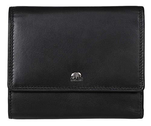 Brown Bear Echtleder Geldbörse Damen Leder Schwarz Hochformat Überschlag-Börse groß viele Fächer mit RFID Schutz Reißverschluss-Fach und hochwertige Doppelnaht Frauen Portemonnaie Geldbeutel