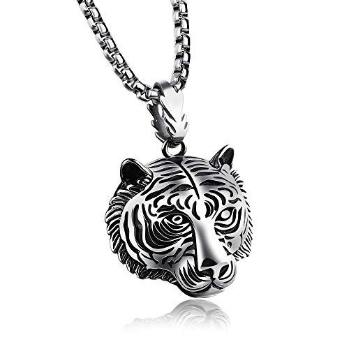 YQMR Colgante Collar para Mujer,Vintage Colgante Collar para Mujer Plata Cabeza De Tigre Animal Colgante Joyería Dama Retro Regalo para Parejas Cumpleaños Aniversario De Boda