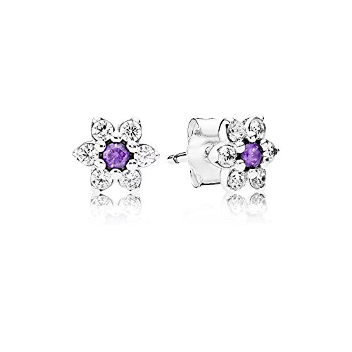Bluebird Forget Me Not Stud Earrings with clear and purple cubic zirconia in 925 Sterling Silver