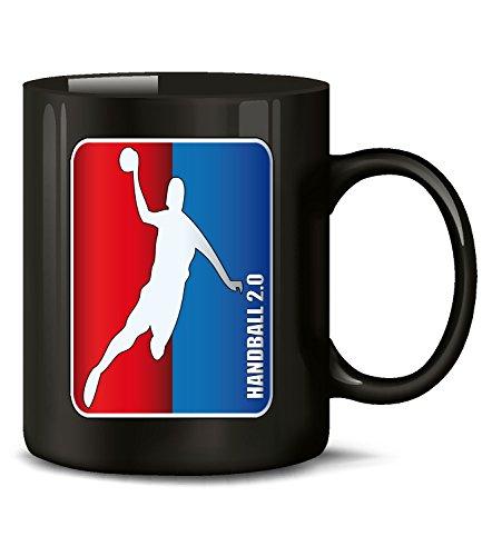 Golebros Handball 2.0 5348 Sport Geburtstag Geschenk Fun Tasse Becher Kaffeetasse Kaffeebecher Schwarz