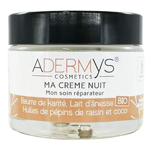 S&B Provence - Adermys® Cosmetics - Ma Crème de Nuit - Mon Soin Réparateur - Crème Lait d'Ânesse Bio et Beurre de Karité, Huiles de Pépins de Raisin et de Coco - Pot de 40 ml