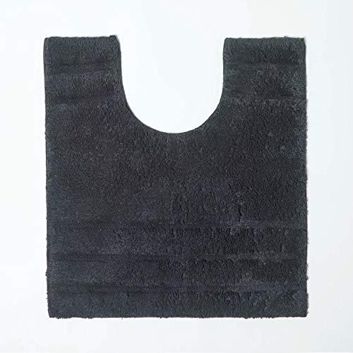 Homescapes Badematte WC Vorleger Spa Supreme 50 x 55 cm aus 100% Reiner Baumwolle schwarz