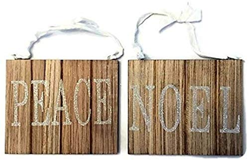 Scout & Company Rustic Wood Ornament 6-Inch Sign Set for Farmhouse Christmas Decor | Xmas Tree Decorations Peace and Noel