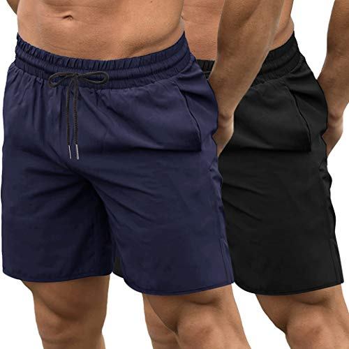 COOFANDY Men's 2 Pack Gym Workout Shorts Quick Dry Bodybuilding Weightlifting Pants Training Running Jogger with Pockets (Black/Navy Blue, Large)