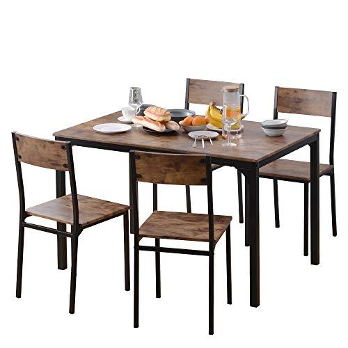 TOPVORK Juego de mesa de comedor y silla de 4 marcos de madera de acero estilo industrial, estilo retro, mesa de comedor de cocina (marrón rústico)