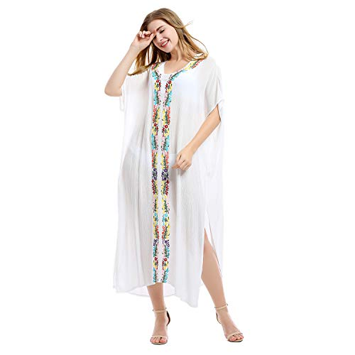 Tyidalin Damen Kaftan Sommer Strandkleid Übergröße Tunika Strandponcho Maxi Lang Pareo Blumendruck Kimono Bikini Cover up