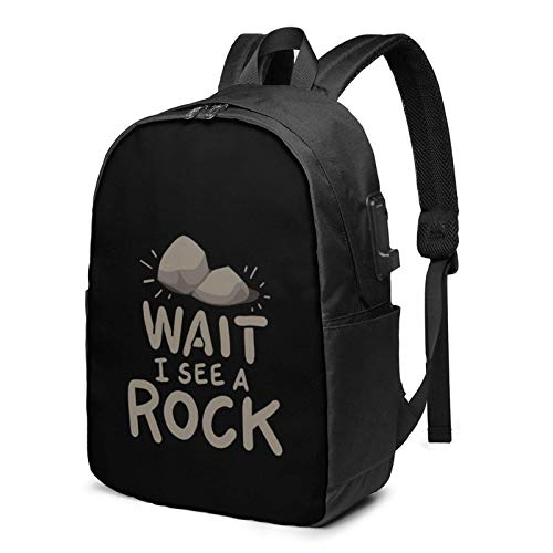 Lsjuee Wait I See A Rock Travel Laptop Backpack with USB Charging Port for Women Men School College Students Backpack Fits 17 Inch Laptop