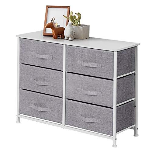 Chest of 6 Drawers, Fabric Storage Dresser with Wood Top, Organizer Unit for Bedroom Hallway Closet, Grey, 80 x 30 x 64 cm