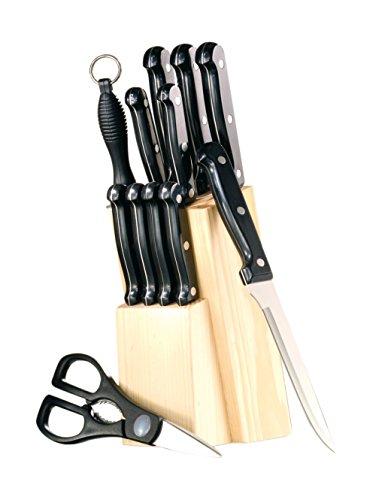 Esmeyer 291-081 12-teiliges Messerset Orion mit Holz-Block, durchgehendes Metall aus Klingenstahl, Schwarze ABS-Griffe, dreifach genietet,